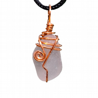 Beautiful big frosty clear, sea glass pendant, copper wire wrapped necklace