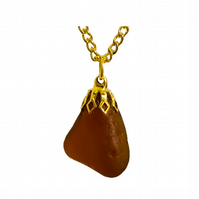 Beautiful deep amber sea glass pendant necklace, gold plated chain, Charmouth