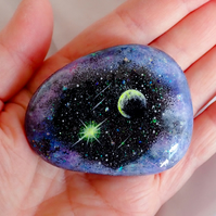 Rock Art, galaxy, planet, moon, holographic, sparkle, beach stone, Charmouth