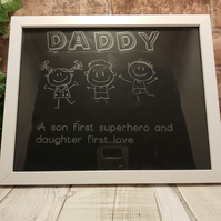 Etched photo frame