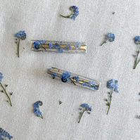 Forget Me Not Hair Clips, Set of Two, Resin Hair Clips