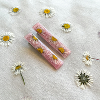Daisy Pressed Flower Hair Clips - Set of Two - Shimmery Pink