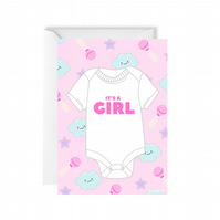New Baby It's a Girl Card