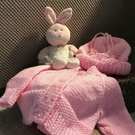 Baby Cardigan Jacket and Hat with tassel in Pale Pink