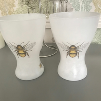 Hand painted decoupaged vases bee
