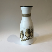 Vase, glass carafe shape, decoupaged with trio of baby owls and jute twine