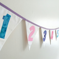 fabric Number Line Bunting, Numbers 1 to 10 Bunting, Kids Playroom decor,