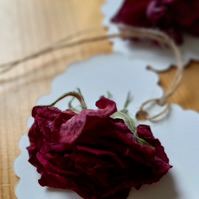 Dried Rose Heart Gift Tag