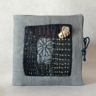 Boro Sashiko stitched Needle Book or Case with Bee