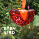Orange fused glass BABY bird