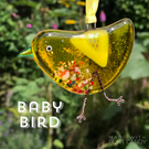 Yellow fused glass BABY bird