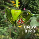 Green fused glass BABY bird