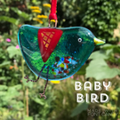 Turquoise fused glass BABY bird