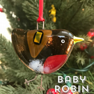 Fused glass BABY robin