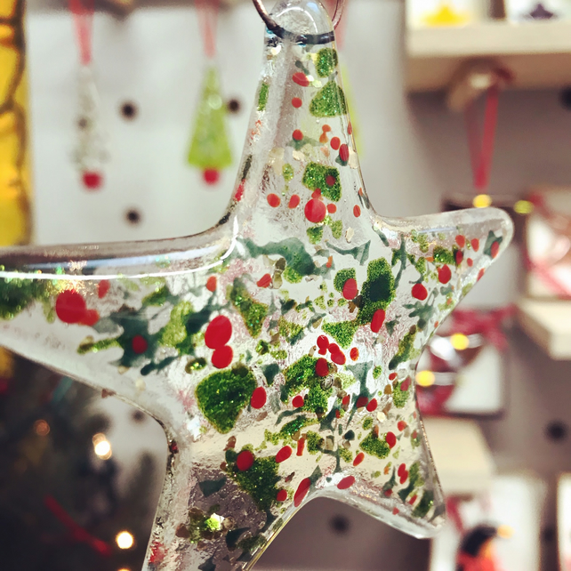 Christmas Sparkles Fused Glass Star