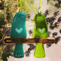 Fused glass Love Birds - Emerald & Green