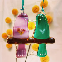 Fused glass Love Birds - Pink & Emerald