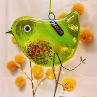 Fused Glass Green Bird