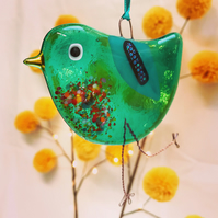 Fused Glass Emerald Bird