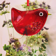 Fused Glass Red Bird