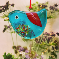Fused Glass Turquoise Bird