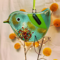 Fused Glass Light Aquamarine Bird