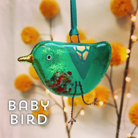 Emerald fused glass BABY bird