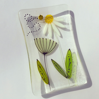 Rectangular floral trinket dish - Daisy and seed head