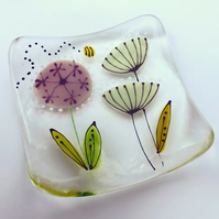 Square floral trinket dish - Allium and seed heads