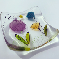 Square floral trinket dish - Poppy head and flowers