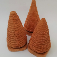 Hand Turned Wood Mini Christmas Trees, Free UK Postage
