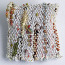 Tiny tapestry brooch, hand woven, shell colours