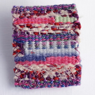 Tiny tapestry brooch, hand woven, pink, purple, red