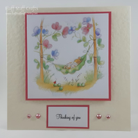 Thinking of you card - mouse in a pea pod