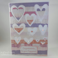 Handmade collage hearts Engagement card