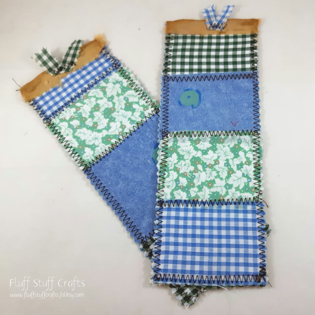 Set of 2 blue and green, handmade shabby style fabric bookmarks