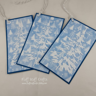Pack of 3 handmade Christmas gift tags - glittered trees