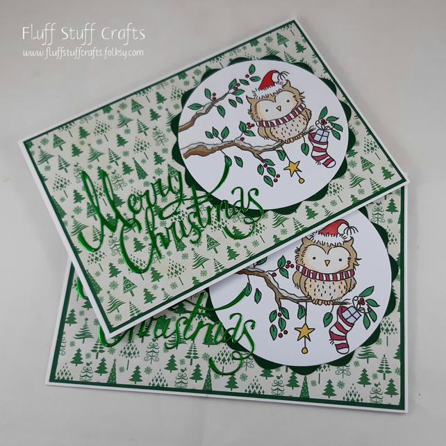 Pack of 2 handmade Christmas cards - festive owl