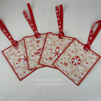 Pack of 4 handmade Christmas gift tags - woolly hats and mittens
