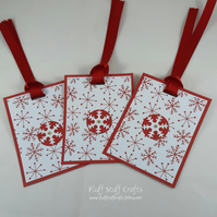 Handmade Christmas snowflake gift tags, pack of 3