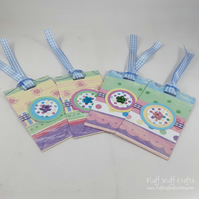 Pack of 4 handmade gift tags in pastel colours