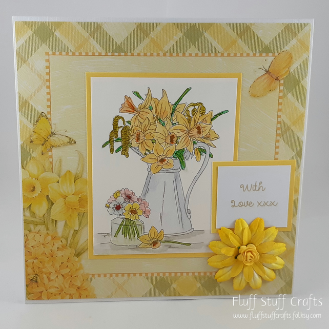 Any occasion floral greetings card - daffodil vase