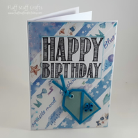 Handmade birthday card - quilled gift tag