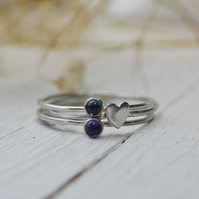 Skinny sterling silver birthstone stacking rings
