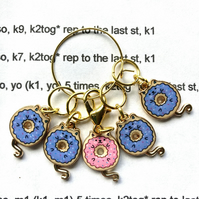 Stitch markers blue donut cats x5
