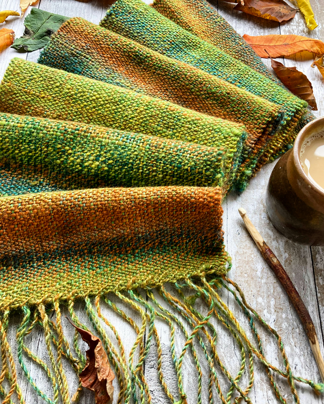 Hand dyed, spun and woven scarf Autumn feels like....