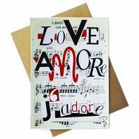 Greeting card - LOVE Jadore Amore - artwork by Betty Shek