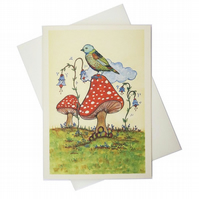 Greeting card - a bird and two mushrooms - artwork by Betty Shek