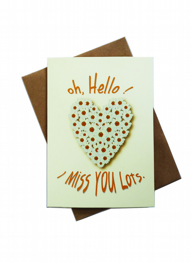 Greeting card - Daisy heart - oh, Hello - I Miss You Lot - artwork by Betty Shek