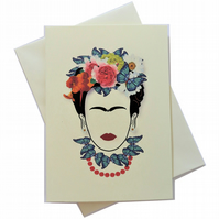 Greeting card - inspired by Butterfly Frida kahlo - can frame for wall art